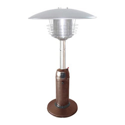 PrimeGlo - Patio Heater in Hammered Bronze - Tabletop Heaters - Tabletop Heaters Collection. Made of Powder Coated Steel. Hammered Bronze finish. 11,000 BTU's  Variable Control. Safety devices such as a thermocouple and anti tilt device. Weight plate for stability. 21 in. L x 21 in. W x 38 in. H (19 lbs.)Outdoor tabletop propane patio heater in Hammered Bronze. It stands 38 inches tall with weight plate for added stability. This unit comes with safety devices, which include a thermocouple and anti tilt device. The heater comes with a cover and easy start ignition. Heat production of 11k BTU's which heats a 6 ft. diameter.