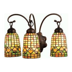 Meyda Tiffany - Meyda Originals Acorn Vanity Light - Requires three 60 watt medium type bulbs. Victorian lodge theme. Geometric grid patterned elongated handcrafted shades. Made from mahogany bronze. Honey, rust and olive green color. 18 in. W x 11.5 in. D x 11.5 in. H. Instructions Manual. Care Instructions