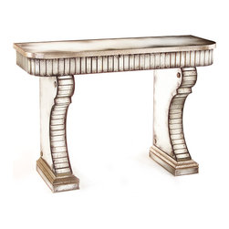 Vivaldi Console Table - Baroque styling and glamorous flash set apart this showpiece console table.  The curving edge of the tabletop and the scrolled fronts of the console's two legs are beautifully paved in narrow panes of hand-antiqued silver mirror.  Other surfaces are inlaid with wider reflective pieces between silver-gilt molding for an overall lustrous effect.  Items placed on the table � especially light sources � double in beauty atop their antiqued reflections.
