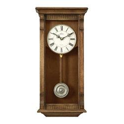 BULOVA - Warrick Wall Clock with Triple-chime movement - Wood and wood veneer case, weathered natural oak finish