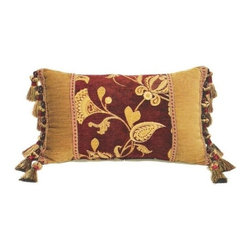 """Canaan - Pilates Chenille Damask Floral Pattern Print 14"""" x 22"""" Throw Pillow - Pilates chenille damask floral pattern print 14"""" x 22"""" throw pillow with glasgow tassel ends. Measures 14"""" x 22"""" made with a blown in foam. These are custom made in the U.S.A and take 4-6 weeks lead time for production."""