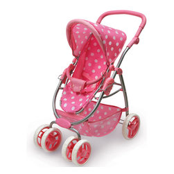 Badger Basket - Six Wheel Doll Travel System Stroller and Carrier - Pink Polka Dots - Your doll can go wherever you go, even when strollers aren't allowed, thanks to the removable carrier seat. Four front wheels (2x2) swivel for a smooth ride and to make turning a breeze. Large storage basket, height adjustable handle with thick rubber padding, three point harness with easy release buckle, and adjustable seat back. Stroller folds for storage and travel.