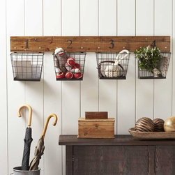 "Viva Terra - Numbered Wire Basket Rack - Made of metal and natural birch, these handy baskets are sized for mail, hats, gloves, scarves-all those things that otherwise get trampled or shoved into a corner of the mudroom or entryway. Easy to hang, the rack earns its keep in no time.  48""L x 12.75""H x 5.5""D"
