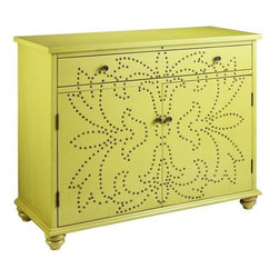 Branly Cabinet - Nail heads and studs (oh my!) are still hot as a decor element. I have seen this chest in person, and it is gorgeous.