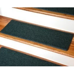 """Dean Flooring Company - Dean Non-Slip Tape Free Pet Friendly DIY Carpet Stair Treads/Rugs 27"""" x 9"""" (15) - Dean Non-Slip Tape Free Pet Friendly DIY Carpet Stair Treads/Rugs 27"""" x 9"""" (15) - Color: Hunter Green : Quality, Stylish Carpet Stair Treads by Dean Flooring Company. Extend the life of your high traffic hardwood stairs. Reduce slips/increase traction. Cut down on track-in dirt. Great for pets and pet owners. Made in the USA from quality, long lasting stain resistant olefin carpeting with non-slip padded foam backing. Stands up great to high traffic. A fresh new look for your staircase. Do-it-yourself installation is quick and easy with our unique non-slip backing. Simply place your stair tread rugs on your staircase and go. No tapes, adhesives, staples, glue, or Velcro needed. And rest assured, they won't move and they won't damage your hardwood either. They are also simple and easy to remove as well with no sticky residue left behind. Each tread is bound with color matching binding tape. No bulky fastening strips. You may remove your treads for cleaning and re-attach them when you are done. Add a touch of warmth and style to your stairs today with new stair treads from Dean Flooring Company! We make our own stair treads at Dean Flooring Company and our products are not available from anyone else."""