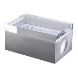 MoMa - Sleek Business Card Box - A sophisticated stainless steel business card holder that features a transparent acrylic top for viewing. A hole on the box's side allows for cards to be easily lifted.