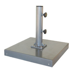 Greencorner - 100 lb Steel and Concrete Umbrella Stand, Grey - This heavy duty concrete-filled steel base offers attractive and stable installation.