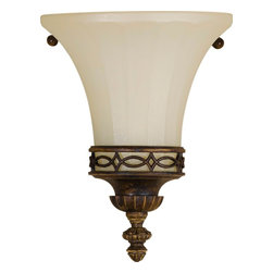 Murray Feiss - Murray Feiss Drawing Room Traditional Wall Sconce X-LAW0331BW - Classic Edwardian influences give a regal and stylish look to this Murray Feiss wall sconce. From the Drawing Room Collection, the warm tones of the Walnut finish highlight the finer details. A trumpet shape to the amber snow scavo glass shade adds to the traditional appeal. ADA compliant.