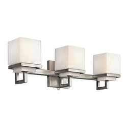 """Kichler - Kichler 45139NI Metro Park 3 Light Bath Bar 45139NI - This 3 light bath light from the Metro Park collection is an exercise in good taste and progressive aesthetics. The etched opal glass is supported by bold squares finished in Brushed Nickel. Width: 22, Height: 6.5, Extention: 5.5, Height from Center of Wall Opening: 4.25. Uses 3 60W (C K) bulbs. Rated for damp locations. Bulb included.Brushed Nickel finish Etched Opal diffuser 3 60-watt max. bulb included UL ListedBackplate Dimensions: 4.5"""" X 4.5"""" Bulb Included: Yes Bulb Type: B Collection: Metro Park Diffuser Description: Etched Opal Extension: 5.38"""" Finish: Brushed Nickel Finish Group: Silver Height: 6.375"""" Height from Junction Box: 4.125"""" Material: Steel, Glass Number of Lights: 3 Socket 1 Base: Candelabra Socket 1 Max Wattage: 60 Style: Casual Type: Bath Lights UL Listed: Yes Wattage: 60 Watt Weight: 6 LBS Width: 21.75"""""""