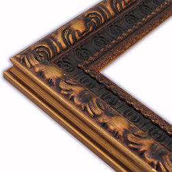 The Frame Guys - Narrow Ornate Dark Gold/Brown Picture Frame-Solid Wood, 12x18 - *Narrow Ornate Dark Gold/Brown Picture Frame-Solid Wood, 12x18