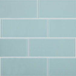 Stone & Co - 3x8 Aqua Blue Glass Subway Tile - Finish: Polished / Shiny
