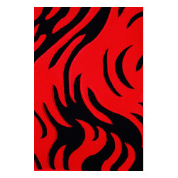 Rug - 3-PC-SET Red with Black Machine Made Geometric Living Room Area Rugs - GEO COLLECTION