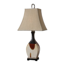 Uttermost - Cervatto Ceramic Table Lamp - Well hello there handsome table lamp! Oh how you flatter the room with your multicolor ceramic and polished nickel accents. And we like even more how you flatter everyone else with your soft light emitting from your ivory linen shade and, well, just by being you.