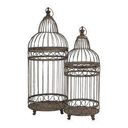 """IMAX CORPORATION - Verona Bird Cages - Set of 2 - Two bird cages, both alike in dignity, in fair Verona...Worthy of Shakespeare, our Verona Bird Cages are crafted from iron and exude Old World charm. Whether used as a home accent, or for your feathered friend, these cages aren't just for the birds.  Set of 2 bird cages measuring 65""""H x 26.5""""W x 25""""L and 79""""H x 32""""W x 30""""L each. Find home furnishings, decor, and accessories from Posh Urban Furnishings. Beautiful, stylish furniture and decor that will brighten your home instantly. Shop modern, traditional, vintage, and world designs."""