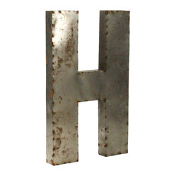 Zentique - Metal Letter H - Spell a favorite word or pick out your initials for a bold art installment in your home. Uppercase and lowercase letters made from recycled metal are crafted in Mexico and make for eclectic wall or garden art. The rustic design adds a playful touch to any space.