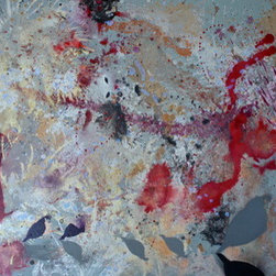 Here We Go (Original) by Dyd Art - Mixed media on stretched canvas.  Edges of canvas painted and hang wire attached.  Plays with the ideas of war and animals, the circle of life.  If you take time to look at this piece, new images slowly appear.