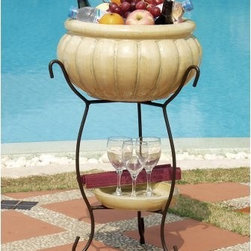 Alfresco Home Scanellato Beverage Cooler - Antique Cream - The Alfresco Home Scanellato Beverage Cooler - Antique Cream provides several uses to make patio decorating and entertaining a little easier. The Scanellato is designed to complement furniture offerings as well as to stand alone as a decorative element in any outdoor setting. You can also plant your favorite flowers when you use the container as a planter. The bowl has a drainage hole and cork, so it's convenient and useful. The cooler is made from glazed ceramic stoneware, and its antique cream finish varies from piece to piece, lending a unique character. The container sits on a black powder-coated, wrought iron stand that adds a decorative and durable element to your patio. Weighs 42 pounds. Dimensions: 17L x 17W x 26H inches. .Maintenance:We recommend protecting this item from the elements, so in harsh climates, cover or store it for the winter. With regular use and care, it is designed to last for generations.About Alfresco HomeOffering a wide selection of fashionable products, from casual furniture and garden lighting to permanent botanicals and seasonal decor, Alfresco Home casual living products offer a complete line of interior and exterior living furnishings and accents. Based out of King of Prussia, Penn., Alfresco Home continues to blend indoor and outdoor furniture to create a lifestyle of alfresco living inside and outside of the home. Inlaid mosaic tabletops, fine hardwood furnishings, artisan-inspired accents, premium silk botanicals, and all-weather wicker sets are just a few examples of the kind of treasures you'll find in Alfresco's specially designed collections.Please note this product does not ship to Pennsylvania.