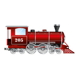 Boys room wall decor - All boys love trains. This wall decal comes in red or steel blue, also can be printed as a canvas giclee.
