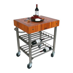"John Boos - Cherry Cucina D'Amico Wine Cart - 5"" Boos Block on Stainless Steel - John Boos Cucina D'Amico wine cart. 5-inch-thick cherry, end-grain  butcher block on a stainless steel base with 2 slotted shelves in which wine bottles nest."