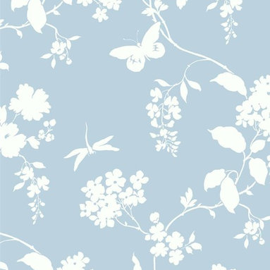 Silhouettes - Bring the delicate feel of asian pottery to your walls with this floral wallpaper from York Wallcovering.