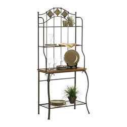 Hillsdale Furniture - Lakeview Baker's Rack - Slate - For residential use. Brown color. Boasting a striking fusion of medium oak wood, coppery brown metal, and a dynamic slate accents, the Lakeview Baker's rack is both attractive and functional. Ample storage space is provided by four shelves. The largest shelf has wood edges and slate inlays that correspond with the slate accents at the top of this handsome piece. Composed of heavy gauge tubular steel, solid wood edges, climate controlled wood composites and veneers, and slate accents. Shelf 1 to Top Shelf: 13.25 in. H. Main Shelf to Shelf 1: 13.75 in. H. Bottom Shelf to Main Shelf: 22 in. H. Floor to Bottom Shelf: 7.375 in. H. 30 in. W x 16 in. D x 70 in. H