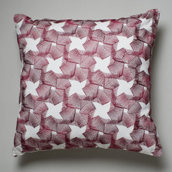 Spirals Red Cushion - Suki Cheema - The delicate, spiraling pattern is embroidered on 100% linen.