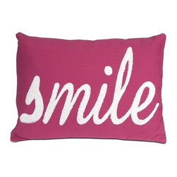 IMAX CORPORATION - Suzie Smile Pillow - Modern homes require bold accents like this smile pillow in a magenta hue. The soft, white embroidery adds a whimsical touch!. Find home furnishings, decor, and accessories from Posh Urban Furnishings. Beautiful, stylish furniture and decor that will brighten your home instantly. Shop modern, traditional, vintage, and world designs.