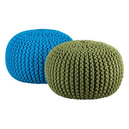 Knitted Pool Pouf - These fun and colorful knit poufs make it easy and inexpensive to kick your feet up.