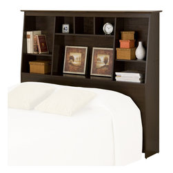 Prepac - Prepac Slant-Back Tall Queen/Full Bookcase Headboard in Espresso - Prepac - Headboards - ESH6656 - Tall Storage Headboards These functional Slant-Back storage headboards offer a stylish way to stay organized. They're not only ideal for smaller rooms where finding storage space is difficult but are a stylish addition to any bedroom. The slant-back design is unique and offers a look that will fit with most decor designs. The 8 differently sized organizing compartments provide lots of space for storing knick-knacks and personal items. Use with Prepacks Storage Beds or with any bed frame. These products are made from composite woods with overlay laminate and the top has detailed profiled MDF edges.
