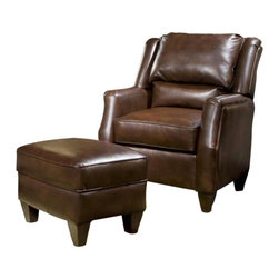 Chelsea Home Furniture - Chelsea Home Russell Chair and Ottoman in Cantina Cocoa - Russell Chair and Ottoman in Cantina Cocoa belongs to the Chelsea Home Furniture collection