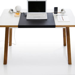 StudioDesk - StudioDesk, A traditional table with a modern twist, with quality built timeless design that features solid mahogany legs and details, specifically designed for laptop users.