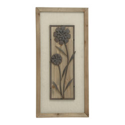 Floral Patterned Wood Metal Fabric Plaque - Description: