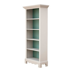 """Sweet Elle Furniture - Beach House BookCase - Our Beach House Bookcase provides charming storage solution for your home. It boasts beautiful detailing with curved wood base, solid wood back panelling and four fixed shelves. Crafted using traditional mortise and tenon joinery. Interior dimensions of shelves are 11.75"""" deep x 12"""" tall; top shelf height of 12""""-15""""."""