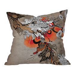 DENY Designs - Iveta Abolina Sonnet Throw Pillow, 18x18x5 - A room without color is like a dinner without wine, no matter how much you love your modern neutrals. This floral throw pillow designed by Iveta Abolina has the contemporary elegance to blend with your swanky style, but also lets a bright orange bloom burst forth from the beige, black and white surroundings. Toss it onto your chic neutral couch and watch your room pop into life.