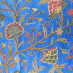 Crewel Fabric World by MDS - Crewel Fabric Tree of Life Royal Blue Cotton Velvet- Yardage - Inspiration: Tree of Life is a pattern inspired by the flowers of Kashmir.This Crewel Fabric representing the flowers in a garden is a delicate balance of real flowers and an artists imagination.
