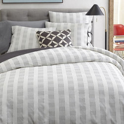 Dotted Stripe Duvet Cover, Stone White/Slate - This duvet with subtle stripes has a masculine feel would be a perfect fit in a teenage boy's room.