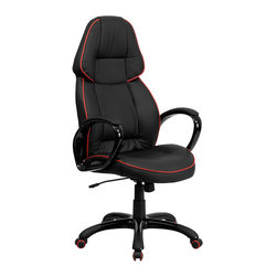 Flash Furniture - Flash Furniture High Back Vinyl Office Chair in Black and Red - Flash Furniture - Office Chairs - CHCX0248H01VENGG - You will not be disappointed with this Contemporary Black Vinyl Office Chair with Red Pipeline detailing. The glossy loop arms with padded insets adds to the comfort of this ergonomically designed chair. As an added bonus this chair features red rimmed casters that adds to the appeal of this contemporary office chair.
