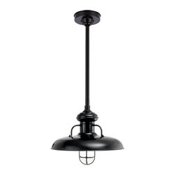 "THE BOOTLEGGER STEM MOUNT CEILING LIGHT - 18"" Bootlegger shown in 91-Black Finish with CGU-FR Accessory, BLO-1/2"" ST Mounting"