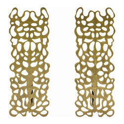 Arteriors - Hedda Andirons, Set of 2 - This laser cut pattern speaks to the pleasing nature of artistic symmetry and has a tribal feel about it. The andirons are constructed of steel and finished in antique brass.