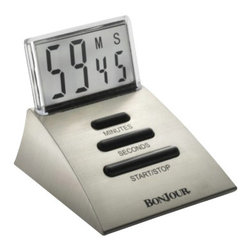 BonJour - BonJour Chrome Single Timer w/See-Through LCD Screen - BonJour Chrome Single Timer w/See-Through LCD Screen - 53884    Use as a timer to count down from 99 minutes and 59 seconds or as a stop watch up to 99 minutes and 59 seconds.
