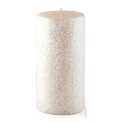 "Jeco - 3 x 6"" Metallic White Glitter Pillar Candle"" - ""Poured, hand painted & scratched to create the detailed textures of this candle. Designed to burn beautifully at your party or event."