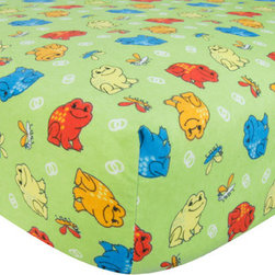 """Trend Lab - Crib Sheet - Frog Print Flannel - Your child's bed will be soft and cozy with this Frog Print Flannel Fitted Crib Sheet by Trend Lab. Sheet features a scatter print of frogs and dragonflies in robin's egg blue, orange crush, red hot, lemon, scuba blue and white on a sage background. Sheet features 7"""" deep pockets and fits a standard 52"""" x 28"""" crib mattress. Elastic around entire opening and elastic sheet straps sewn in each corner ensures a more secure fit. Coordinates with the Animals collection by Trend Lab."""