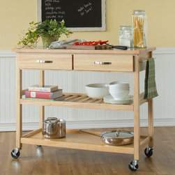 Castleton Home - Solid Wood Top Kitchen Island Cart - This Solid Wood Top Kitchen Island Cart adds a warm, homey look to your kitchen. Two utility drawers and two shelves keep your cooking essentials neatly organized and easily accessible. This kitchen cart also features 4 casters for mobility when you want it and a sturdy cutting surface when you need it. Features: -Solid wood top.-2 utility drawers on metal glides with stops.-Adjustable slatted middle shelf.-Solid bottom open storage area.-Brushed steel hardware.-Towel bar.-4 casters (2 locking).-Solid hardwood construction.-Distressed: No.Dimensions: -Overall dimensions: 36'' H x 44'' W x 20.5'' D.-Overall Height - Top to Bottom: 36.-Overall Width - Side to Side: 36.-Overall Depth - Front to Back: 20.5.-Overall Product Weight: 87 lbs.