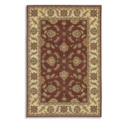 """Karastan - Sierra Mar Sedona Henna Oriental 9'6"""" x 13'2"""" Karastan Rug (33004) - Comfortable, weathered, easy to live with color, is the signature style of the Sierra Mar collection, with relaxed patterns that complement both traditional and modern design. Woven in the U.S.A., the pure New Zealand worsted wool yarns have been specially twisted and space-dyed to create artful color 'stria' reminiscent of fine hand woven 'Peshawar' rugs."""