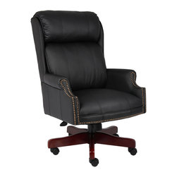 Boss Chairs - Boss Chairs Boss Traditional High Back Caressoftplus Chair with Mahogany Base - Classic traditional styling. Beautifully upholstered in black Caressoft plus. 8-way hand-tied coil construction seat. Hand-applied antique brass nail-head trim. Mahogany wood finish on base. Hooded double wheel casters. Upright locking position. Pneumatic gas lift seat height adjustment. Adjustable tilt tension control.
