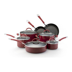 KitchenAid - Porcelain Nonstick Stainless Steel 12-Piece Cookware Set - Features: -Nonstick 12 piece cookware set.-Exceptionally durable and long lasting.-Food slides off effortlessly.-Quick and easy cleanup.-Oven safe to 400 degree F.-Solid plate safe.-Heats food quickly.-Heavy gauge construction.-Handle construction: Soft silicone and quality stainless steel.-Red finish.-Porcelain Nonstick collection.-Collection: Porcelain Nonstick.-Distressed: No.Dimensions: -Overall dimensions: 13.75'' H x 10.75'' W x 21'' D.-Overall Product Weight: 17 lbs.Warranty: -Manufacturer provides lifetime limited warranty.-Manufacturer provides replacement warranty.