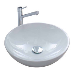 WS Bath Collections - Acquaio 17 in. Round Bathroom Sink in Ceramic - Over The Counter (Vessel). Without Overflow. Made by Lineabeta of Italy. Product Material: Ceramic. Finish/Color: Ceramic White. Dimensions: 17.3 in. Diameter x 5.5 in. H