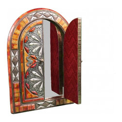 Handmade Moroccan Mirror. - One of a kind hand crafted Moroccan mirror consisting of carved camel bone, brass engraving and Berber silver work.