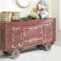 Vintage Style Train Car Chest - This beautiful distressed wood side table, designed to look like a vintage railroad car, doubles as a chest for extra holiday storage. Too pretty to just use for the holidays? Use it all year round for a vintage touch to your child's nursery!