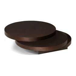 Moe's Home Collection - Moe's Home Torno Round Coffee Table in Dark Brown - Wood veneer round coffee table. The top 2 levels swivel 360 degrees.